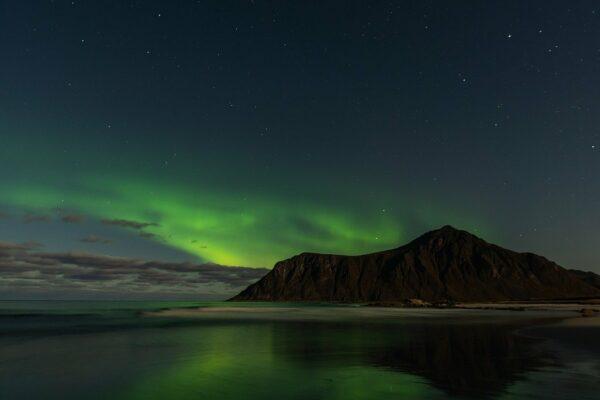 Ideale Uhrzeit um die Polarlichter in Norwegen zusehen